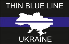 Флаг Thin Blue Line Ukraine (карта Украины)