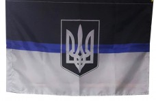 Прапор Thin Blue Line Ukraine (герб Украіни) 90х60см