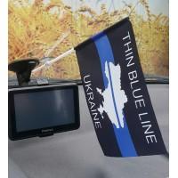 Автомобильний прапорець Thin Blue Line Ukraine (карта)