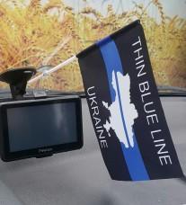 Автомобильный флажок Thin Blue Line Ukraine (карта)