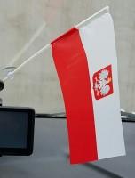 Автомобильный флажок Польша с гербом (в авто)