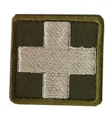 Нашивка Крест медика. ОЛИВА-БІЛИЙ