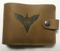 Шкіряний гаманець з символикою ДШВ України Колір хакі