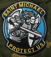 Шеврон Saint Michael Protect Us (в цветах укр. флага)