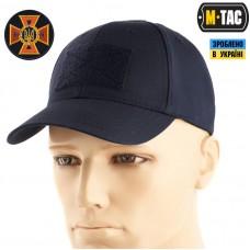 Бейсболка M-TAC Elite Flex рип-стоп Dark Navy Blue з липучкою для патча та кокарда ДСНС на липучці Комплект