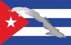 Прапор Куби з мапою Острова Свободи