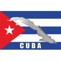 Прапор Куби з мапою та написом