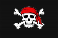 Флаг пиратский Череп в красной бандане