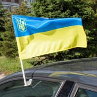 Автофлаг Украина с малым тризубом