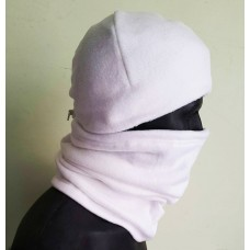 Зимовий флісовий шарф-труба з затяжкою. Білий