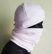 Зимний флисовый шарф-труба с затяжкой. Белый