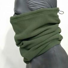 Зимний флисовый шарф-труба Хаки с затяжкой