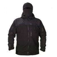 Флисовая куртка с капюшоном 6 карманов черная