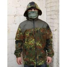 Куртка флісова камуфляж Flecktarn с капюшоном АКЦІЯ 20%