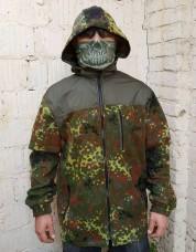 Куртка флисовая камуфляж Flecktarn с капюшоном
