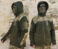 Флисовая куртка с капюшоном олива с накладками пиксель