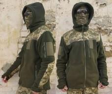 Флисовая куртка с капюшоном олива с накладками пиксель АКЦИЯ последний размер