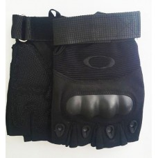 Тактичні рукавички без пальців з накладками Чорні