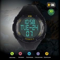 Годинник тактичний з крокоміром M-TAC Black