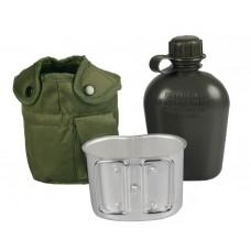 Mil-Tec фляга 1л тип США с подфляжником и чехлом. Олива