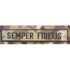 Нашивка SEMPER FIDELIS піксель чорна нитка (обшита)