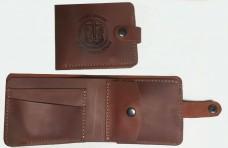 Шкіряний гаманець з символикою Морської Піхоти України. (рудий)