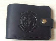 Шкіряний гаманець з символикою Морської Піхоти України. BLACK
