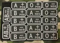 Нашивка группа крови NATO style вышивка BLACK