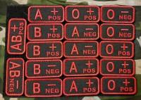 Нашивка группа крови NATO style вышивка Черный с красным