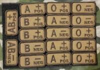 Нашивка група крові NATO style вишивка COYOTE BROWN