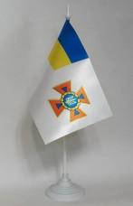 Купить Новый флаг ДСНС України флажок настольний Материал Атлас в интернет-магазине Каптерка в Киеве и Украине