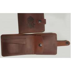 Шкіряний гаманець з символикою Національна Гвардія України (рудий)