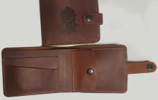 Шкіряний гаманець з символікою Національна Гвардія України (рудий)