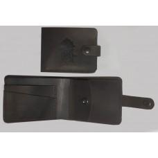 Шкіряний гаманець з символикою НГУ (Коричневий)