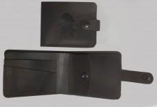 Шкіряний гаманець з символікою НГУ (Коричневий)