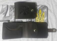 Шкіряний гаманець з символікою Піхота України. Brown