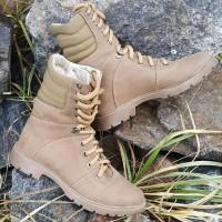 Зимние ботинки на меху. Койот. Берцы 18см