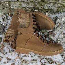 Зимние ботинки на меху. Койот браун -криптек. Берцы 18см