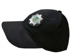 Черная бейсболка Полиция Украины с нашитой кокардой