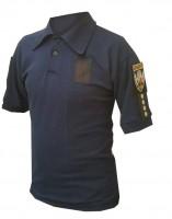 Поло Полиция-Патруль темно-синее с нашивками для шевронов и погонов