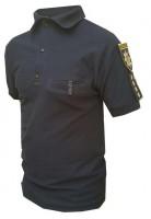 Поло Полиция Патруль Синее с нашивками для шевронов и погонов и карманом