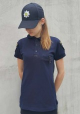 Поло женское Полиция Патруль темно-синее с нашивками для шевронов с карманом