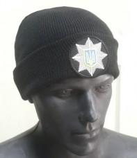 Шапка вязанная Полиция черная