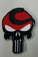 Шеврон Череп з чубом Punisher Patch Червоно чорний