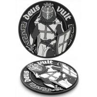 Шеврон DEUS VULT 3D ПВХ (чорно-білий)