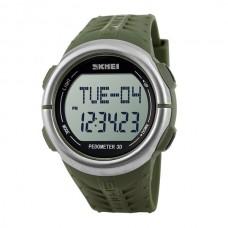 Часы спортивные Skmei 1058 PEDOMETЕR 3D с шагомером и пульсометром Olive