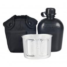 Mil-Tec фляга 1л тип США с подфляжником и чехлом. Черная
