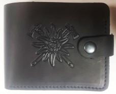 Шкіряний гаманець Едельвейс - гірські бригади ЗСУ (чорний)