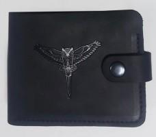 Шкіряний гаманець Розвідка України Сова з мечем (чорний)