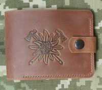 Шкіряний гаманець Едельвейс - гірські бригади ЗСУ (руда)